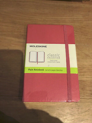 New moleskine classic collection hard cover plain pink notebook  - pocket 9x14