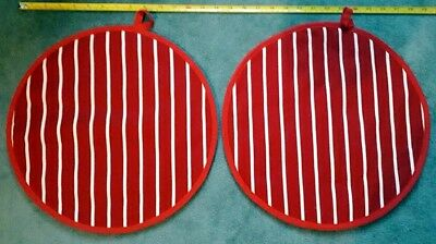 PAIR (2) Hob covers, chef's pads, pot stands, Aga, Range RED BUTCHERS STRIPE