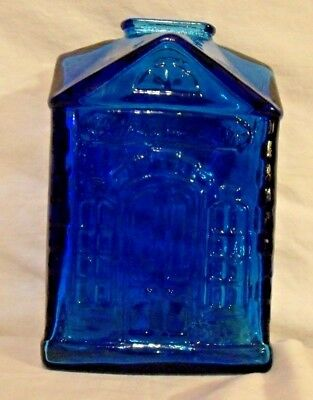 "COBALT BLUE GLASS COIN BANK WHEATON NJ 1ST NATIONAL BANK 1950s 6"" TALL VG COND."