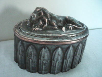 Smaller Size Decorative Antique Tin and Copper Top Lion Jelly Mould Mold