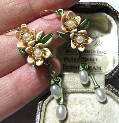 Beautiful Vintage Style Art Deco Enamelled Faux Pearl Orange Blossom EARRINGS