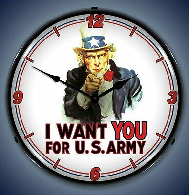 New patriotic Uncle Sam I Want You For US Army LIGHT UP clock Free Shlp USA Made