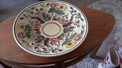 hj wood indian tree handpainted 12 inch bowl