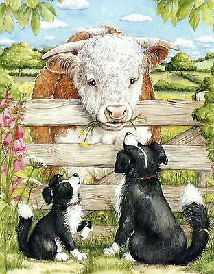 Old Vintage Art Print Border Collie Dog Farm Hereford Cow Feeding Pasture Cattle