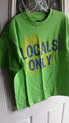 "INK INC surf  TEE T SHIRT MEDIUM NWT's SS ""LOCALS ONLY"" LIME GREEN NWT"