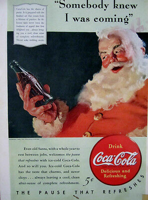 "Vintage Coca Cola 1940 Christmas  Ad Store Sign ""SANTA WITH COLA VISITING """