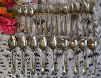 Assorted Lot of 24 Shabby Silver Plated EXETER Cutlery Forks/Spoons/Teaspoons