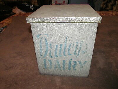 Fabulous Vintage Druley's Dairy Galvanized Metal Porch Milk Box - Must see!!!