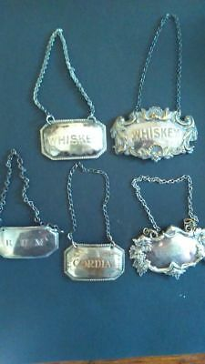 Five Antique Sheffield Decanter Labels (Also Called Tickets) Circa 1820 No Resv