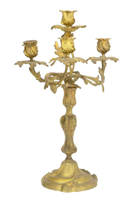 Antique Louis XV Style Gilt Bronze Four Light Candelabra