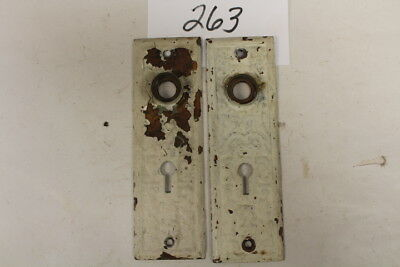 #263 – Lot of 2 Matched Ornate Door Knob Back Plates / Escutcheons, 19th C.