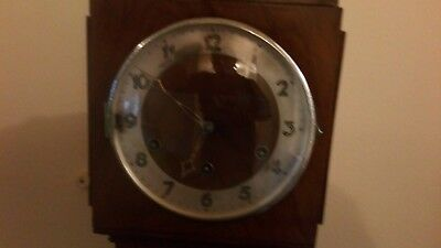 Art Deco walnut Granddaughter Clock eight, day chiming movement, for restoration