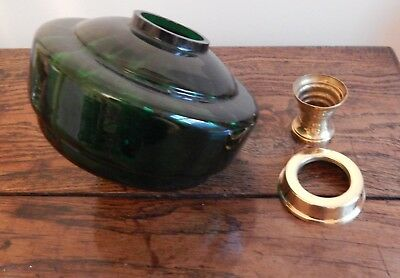 Beautiful Emerald Green Glass Oil Lamp Font with undermount and collar