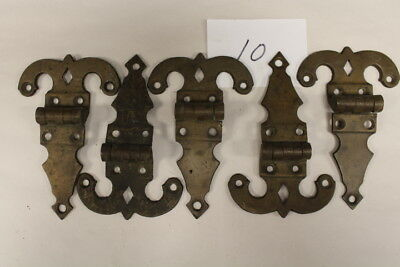#010 – Lot of 5 Heavy Brass Hinges, 19th C.
