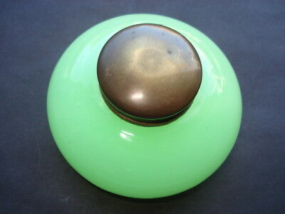 C1900 Vintage Jade Green Glass With Brass Cap Inkwell