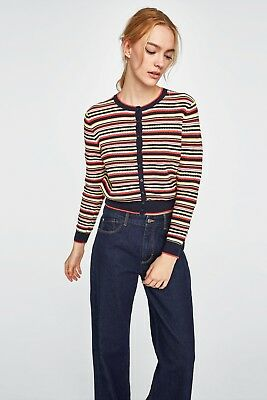 Bnwt Zara Multiclour Striped Knit Cardigan Size S