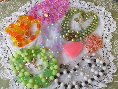 Lovely Huge Mixed Collection of Vintage 1950s Lucite Bead Necklaces