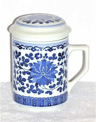 3 Piece CHINESE Cobalt Blue Floral PORCELAIN TEA CUP with Infuser/Strainer & Lid