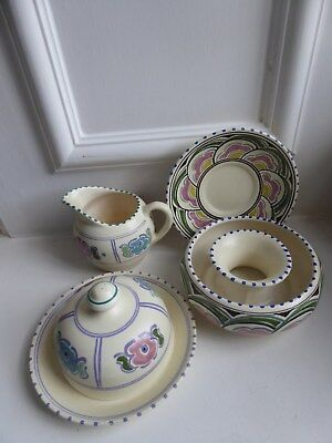 Honiston Pottery Devon 4 Pieces Jug Saucer Flower Ring Posy Bowl Cheese Muffin