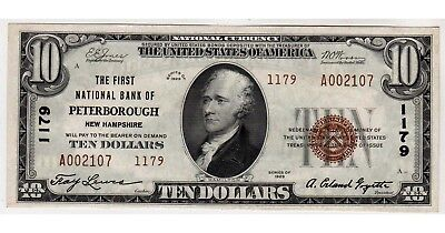 $10 1929 The First National Bank of Peterborough, NH CH# 1179 CHOICE ABOUT UNC.