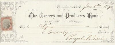 1874  The Grocers And Producers Bank, Providence Rhode Island     W/revenue