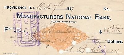 1899   Manufactures National Bank, Providence Rhode Island     W/revenue