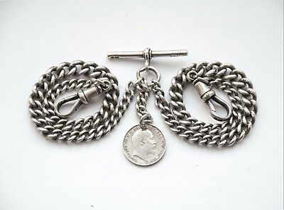 Antique Solid Silver Graduated Double Albert Pocket Watch Chain+ 1908 Coin Fob