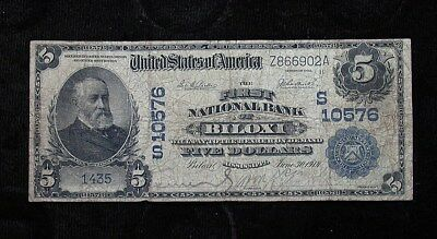 1902 Dateback First National Bank, Biloxi MS $5 National Bank Note (rb1938)