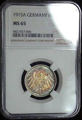 1915A Germany NGC MS65 Gem Colorful Toned 1 Mark (tg1170)