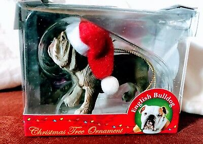 BUllDOG Santa Ornament HAND PAINTED resin FIGURINE UNCROPPED Christmas