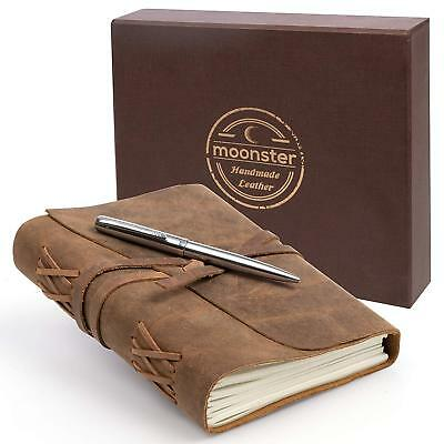 LEATHER JOURNAL GIFT SET Handmade Writing Notebook 7 x 5 Inches Unlined Paper, A