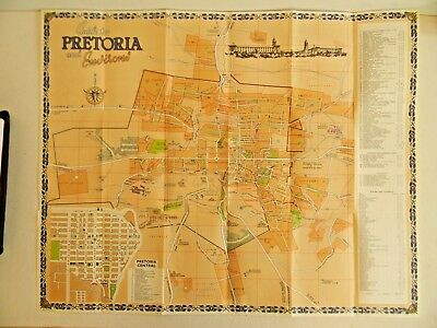 vintage map of Pretoria and it's Environs - South Africa - dated 1962