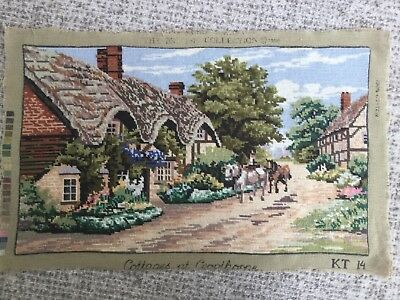 "Vintage Hand Embroidered Needlepoint Panel Thatched Cottages Village 26"" x 16"""
