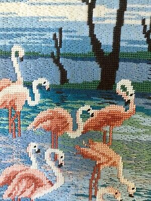 "Vintage Hand Embroidered Needlepoint Panel Flamingos 9"" x 18.5"""