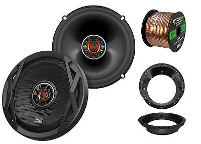 "2x JBL 6.5"" Club Series 2-Way Car Audio Speakers, 2x Harley Adapters, 50 Ft Wire"