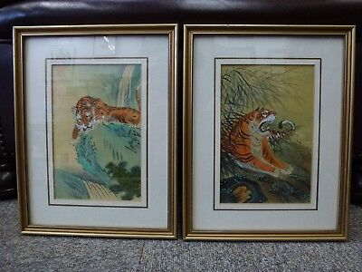Vintage Chinese watercolour Tiger painting PAIR Red Chop signed decorative China