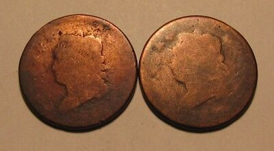 Lot of (2) Dateless Classic Head Large Cent Penny - Well Worn Condition - 62SU