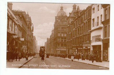 Sauchiehall Street Glasgow Cathcart Tram Lots Of People Real Photo Early 1900's