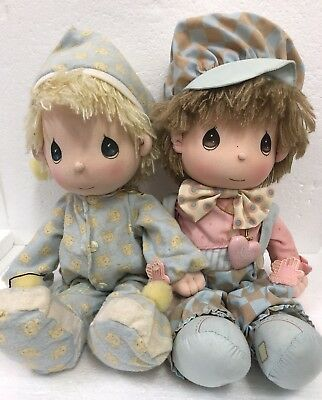 Vintage Lot 2 Precious Moments Applause Soft Dolls Heaven Bless Pajamas Overalls