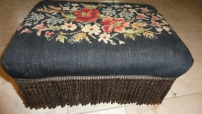 ~Antique Vintage Shabby Floral Chic Needlepoint Foot stool Foot Rest Footstool