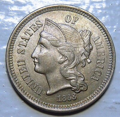 1868 Liberty Head Three-Cent Nickel Au+