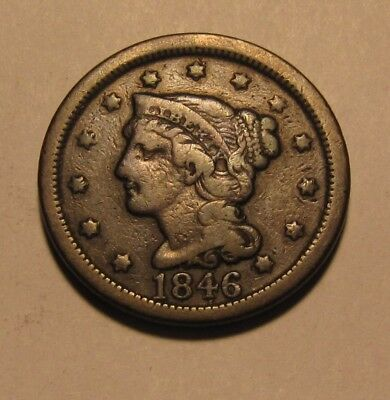 1846 (large) Braided Hair Large Cent Penny - Very to Extra Fine Condition - 87SU
