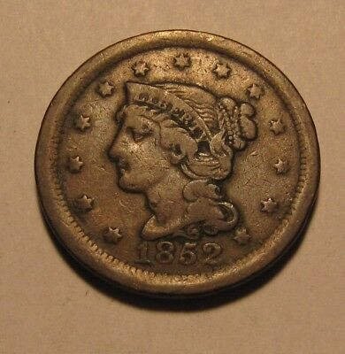 1852 Braided Hair Large Cent Penny - NICE Circulated Condition - 92SU
