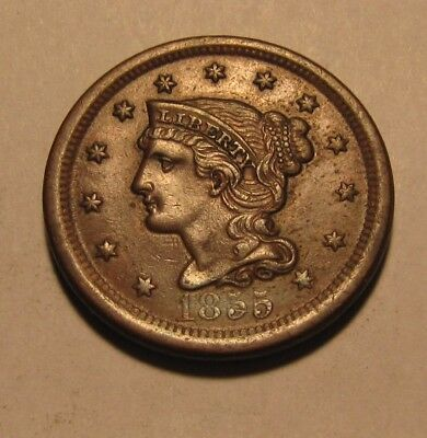 1855 (Upright 5's) Braided Hair Large Cent Penny - AU Condition - 96SU