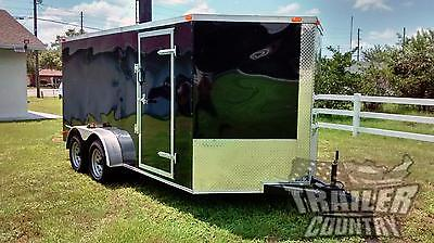 NEW 2019 7 x 14 7x14 V-Nosed Enclosed Cargo Motorcycle Trailer Ramp & Side Door