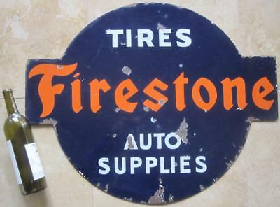 """Vintage Firestone Tires Auto Supply 2-Sided Porcelain Advertising Art 29"""" Sign"""
