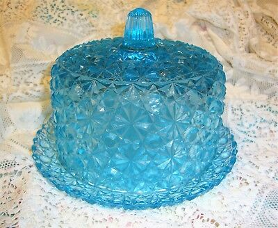 RARE ANTIQUE Blue Glass BUTTER DISH Round Covered Daisy & Button aqua sapphire