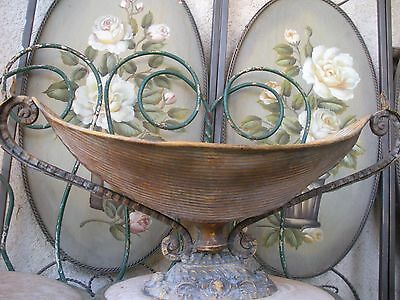 Vintage Aladdin Shaped Ornate Neo-Classical Style Tin & Cast Iron Planter 23""