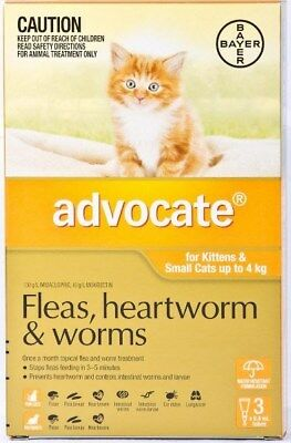 Advocate Flea and Worm Treatment for Kittens and Small Cats 4kg (3 Pack)