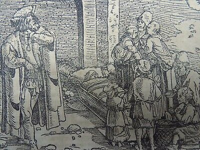 1532 Hans Weiditz 1495-1537 - Master Woodcut - Burden of a large Family